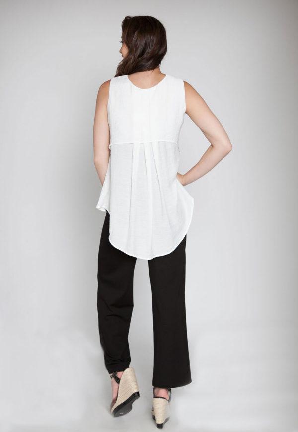 white sleeveless top- back