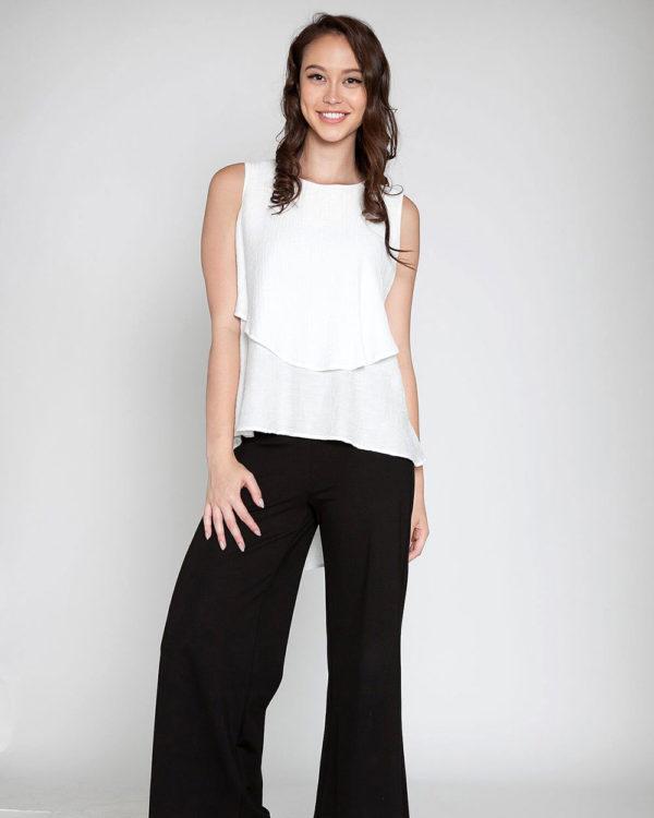 white sleeveless top- front