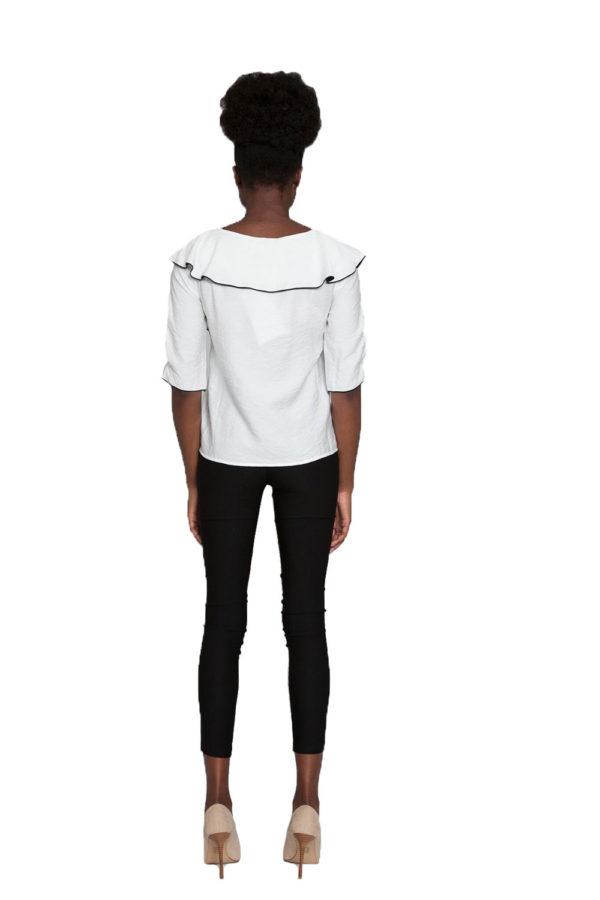 white ruffle top- back