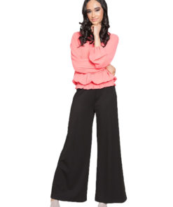 coral pleated top- front