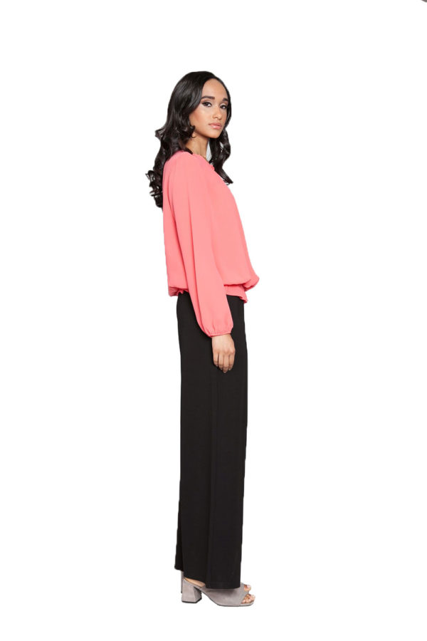 coral pleated top- side