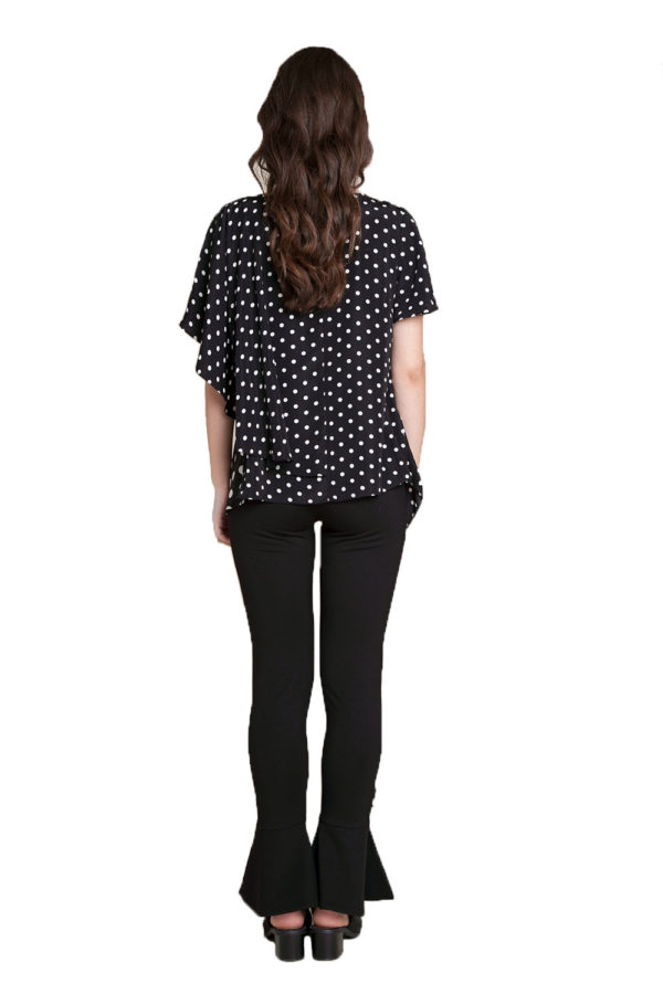 black and white polka dot top- back