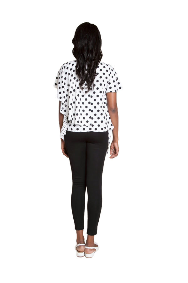 white and black polka dot top- back