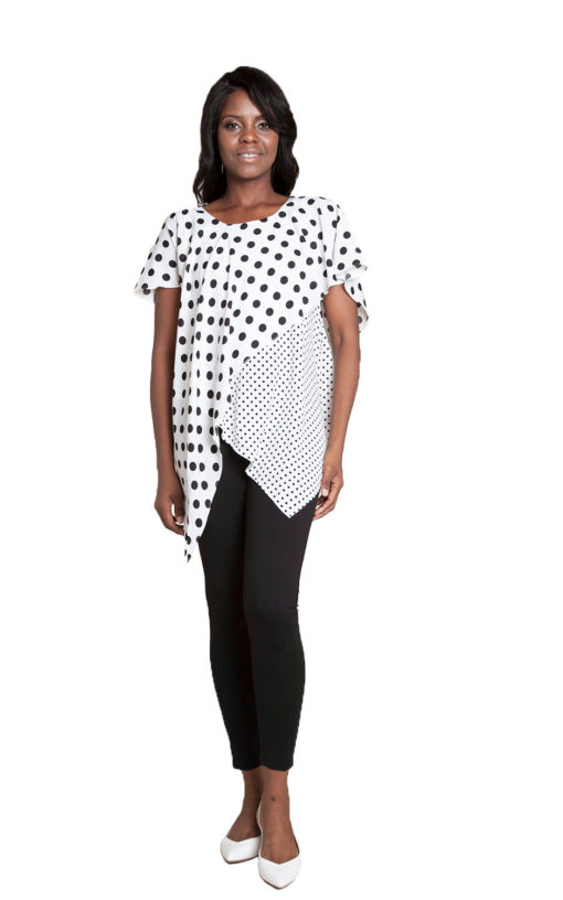 white and black polka top- front