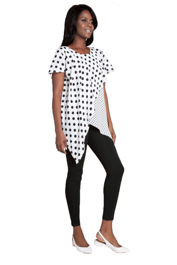 white and black polka dot top- side
