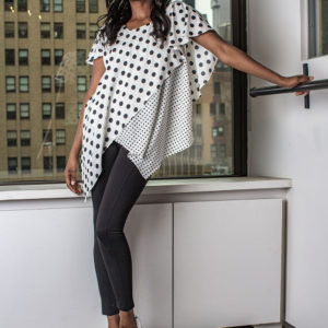 white and black polka dot top- front