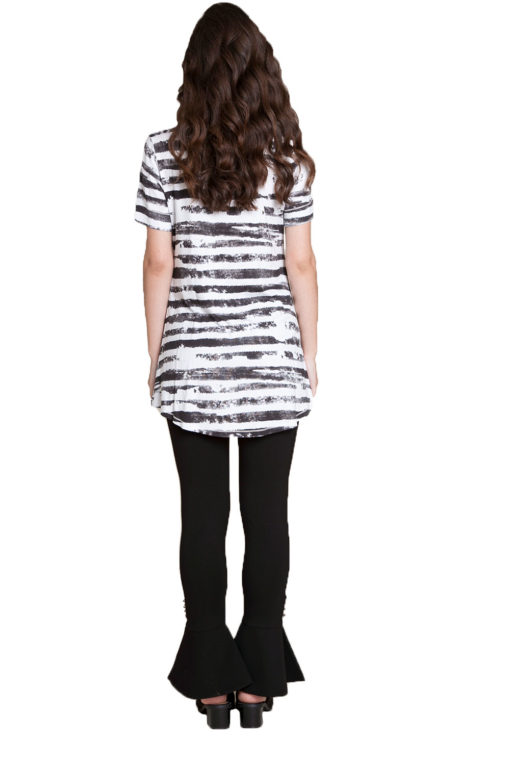 black and white striped top- back