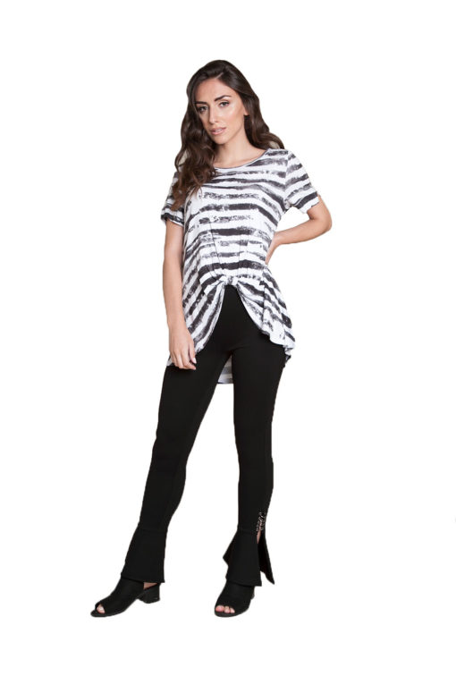 black and white striped top- front