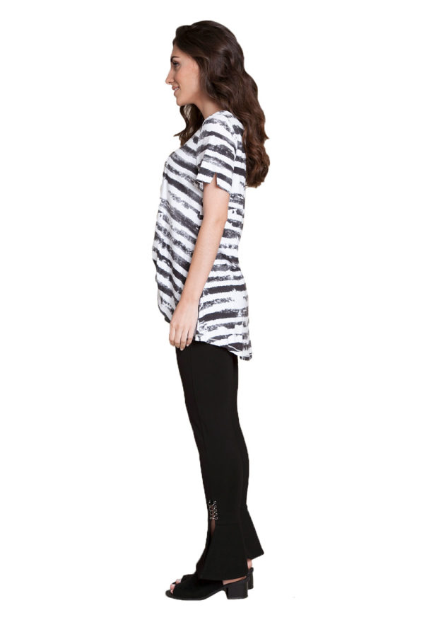 black and white striped top- side