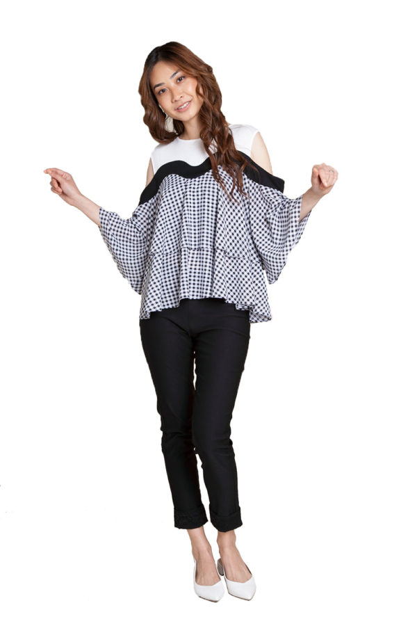 gingham printed top- front