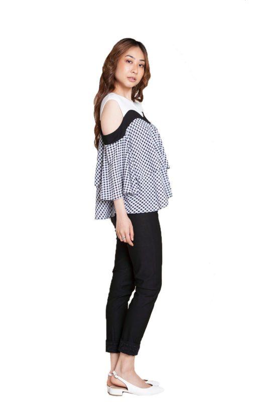 gingham printed top- side