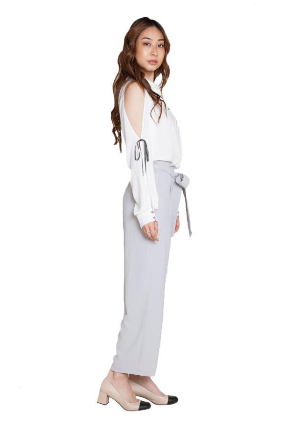 white cold shoulder blouse- side