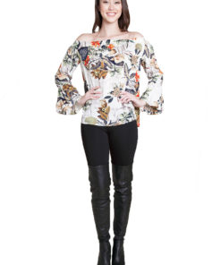 white floral printed bardot top- front