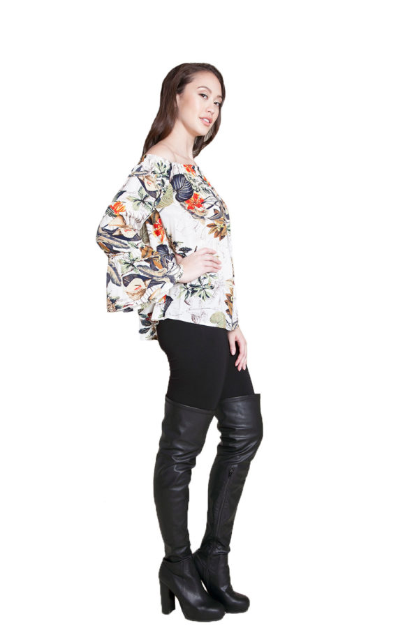 white floral printed Bardot top- side