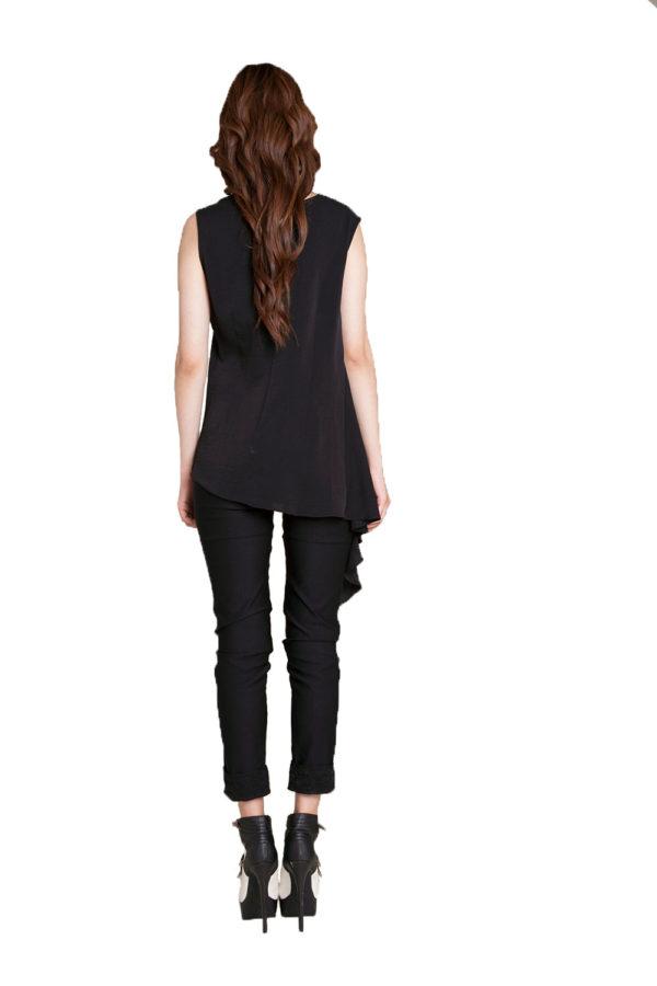 black sleeveless top- back