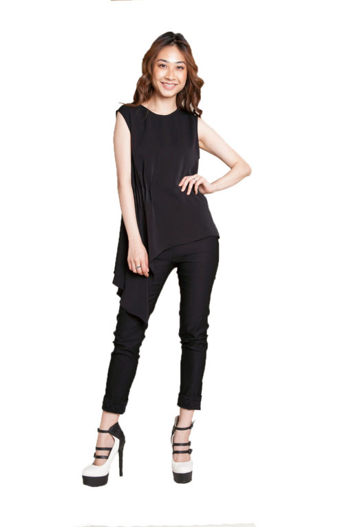 black sleeveless top- front
