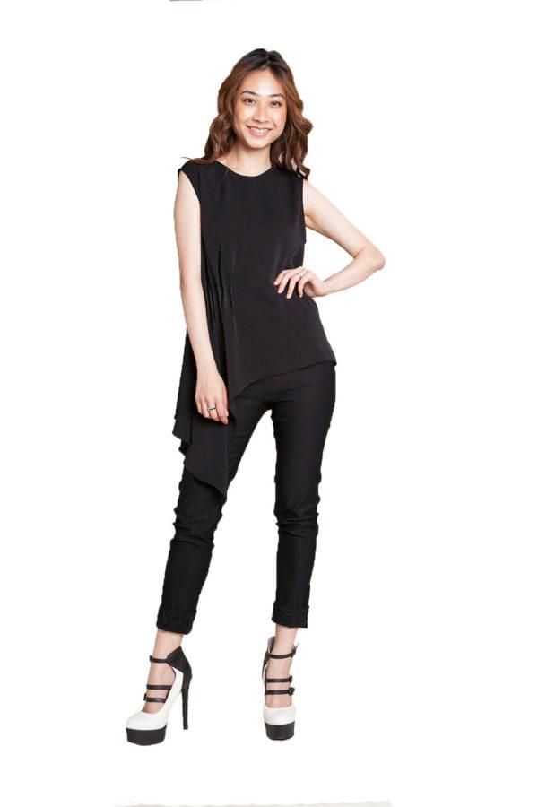 black sleeveless top- front