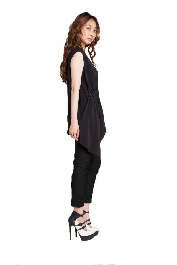 black sleeveless top- side
