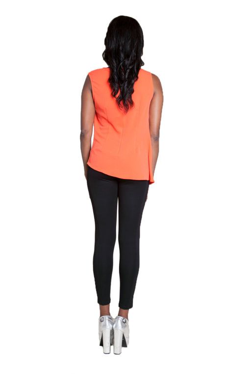 coral sleeveless top- back