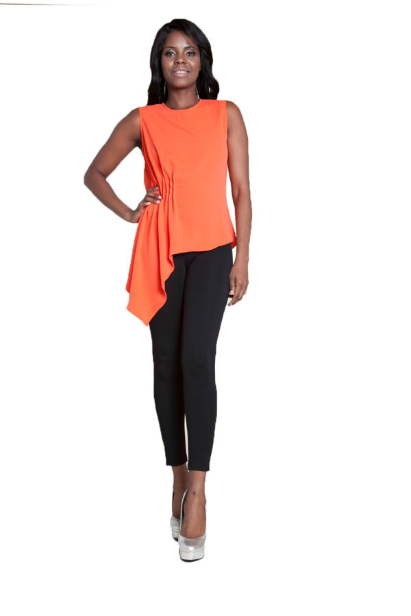 coral sleeveless top- front