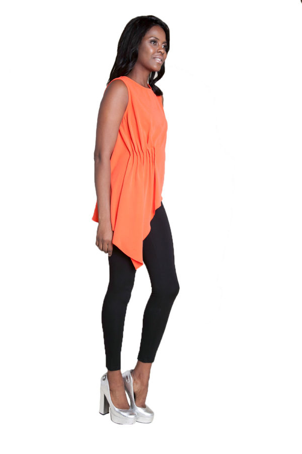 coral sleeveless top- side