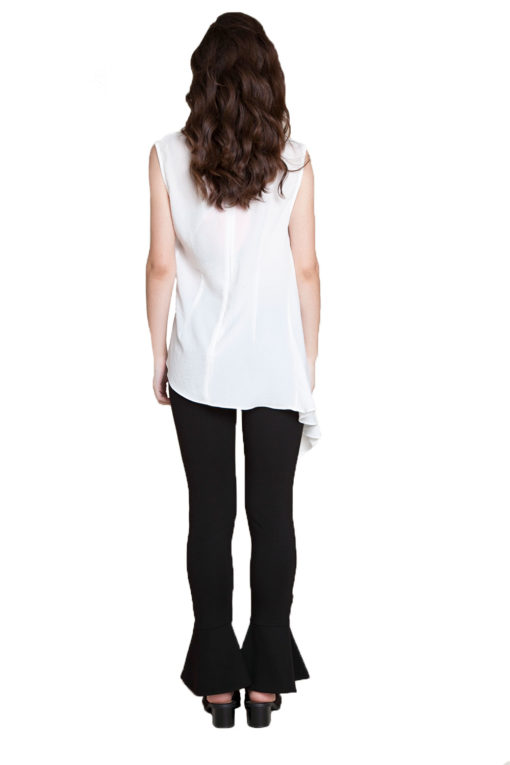 white sleeveless top- back