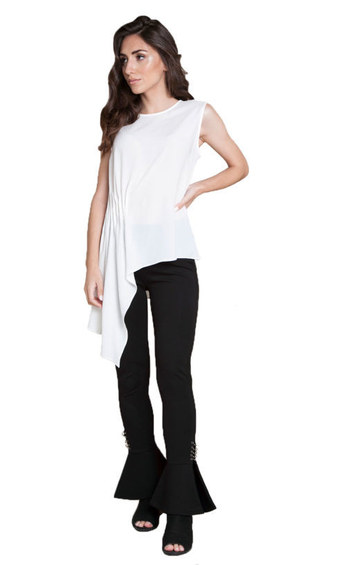white sleeveless top- front