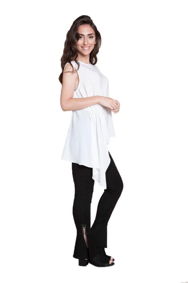 white sleeveless top- side