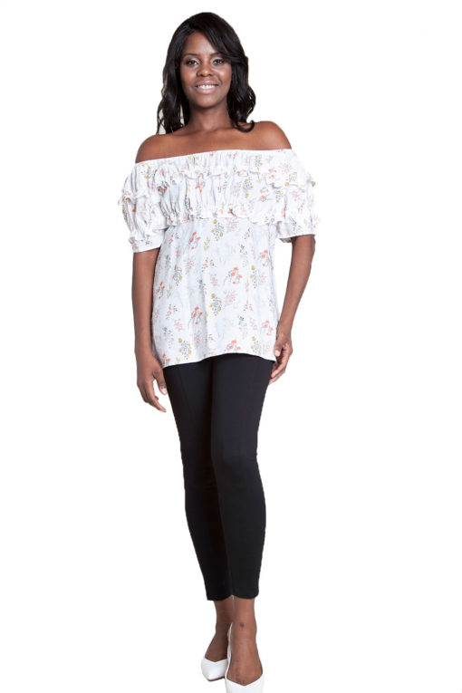 printed white ruffle top- front