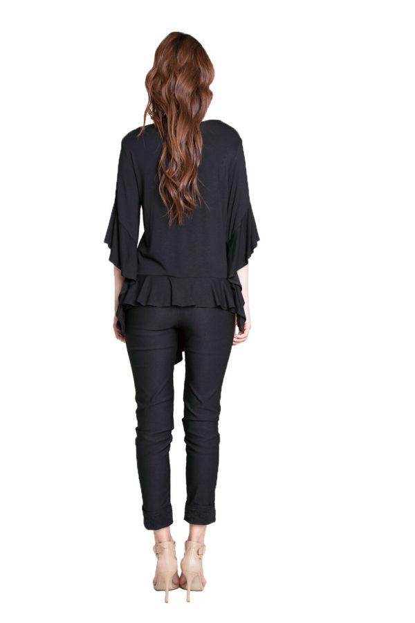 black flare sleeve top- back
