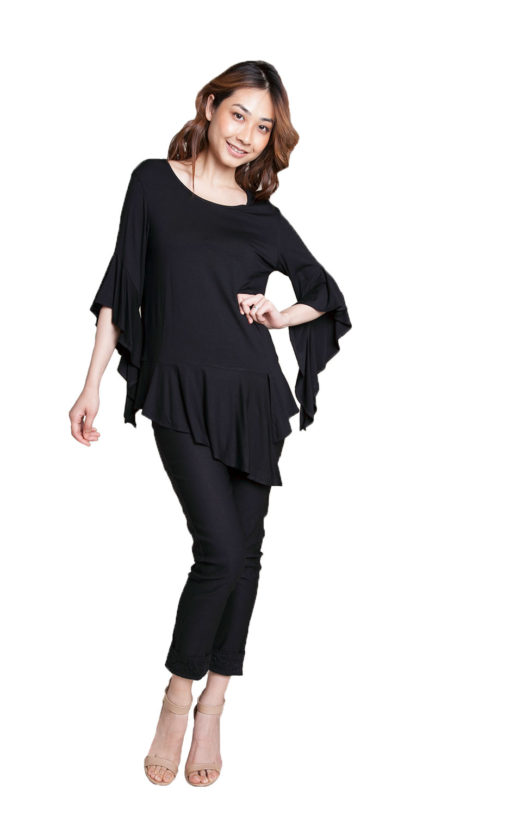 black flare sleeve top- front