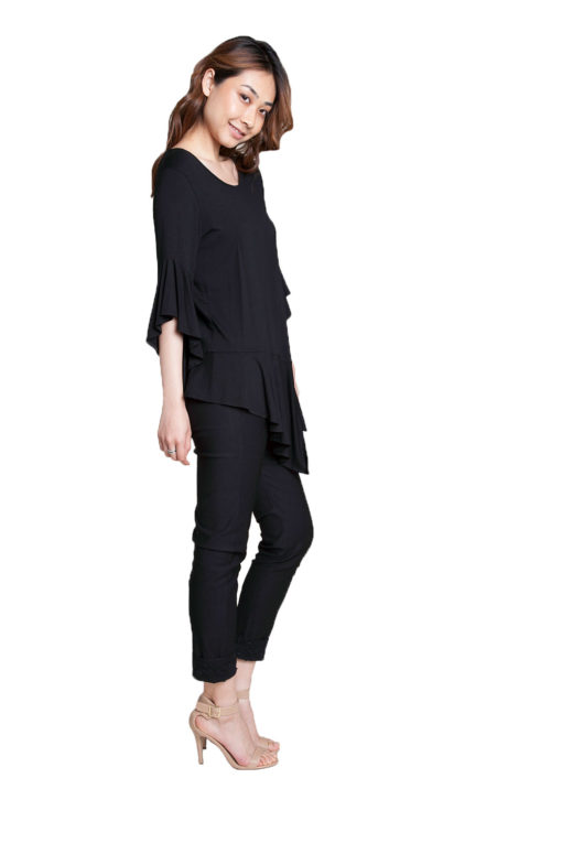 black flare sleeve top- side