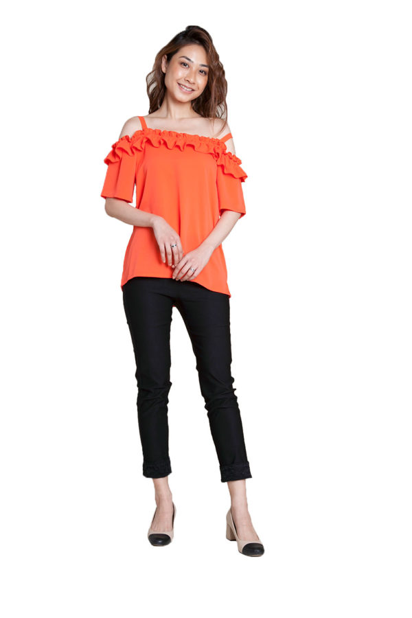 coral ruffle cold shoulder top- front