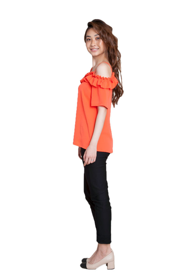 coral ruffle cold shoulder top- side