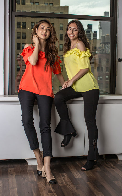 coral and yellow ruffle cold shoulder tops- front