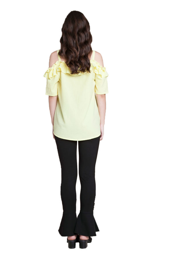 yellow ruffle cold shoulder top- back