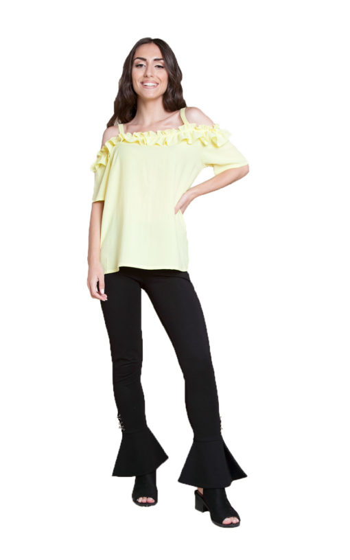 yellow ruffle cold shoulder top- front