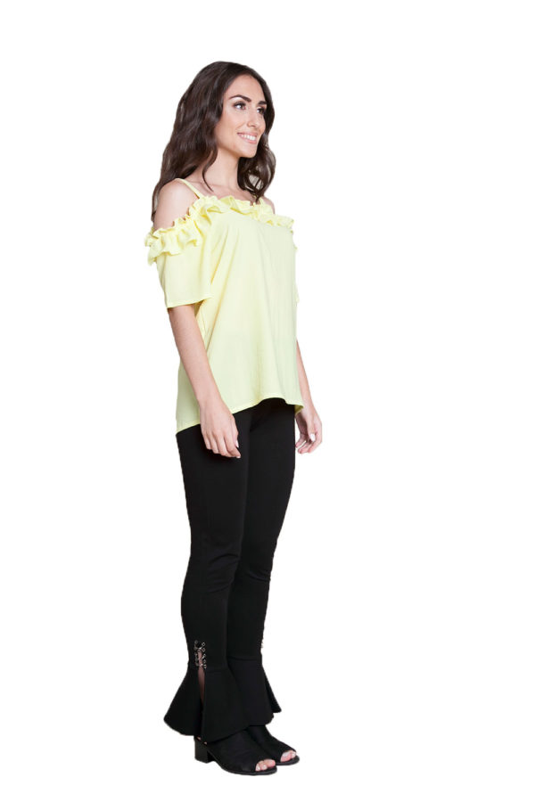yellow ruffle cold shoulder top- side