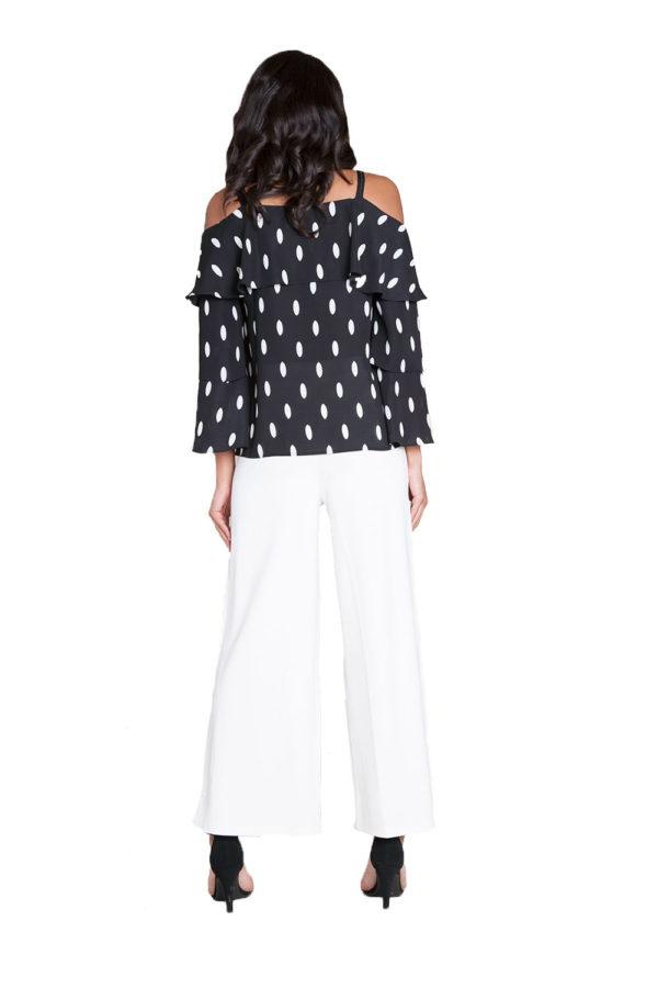 black and white polka dot top- back