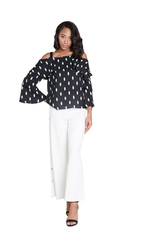 black and white polka dot top- front
