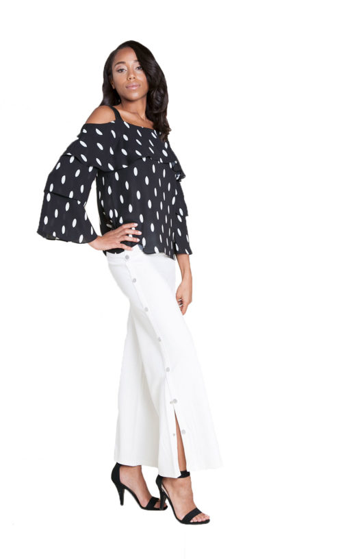 black and white polka dot top- side