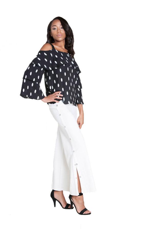 black and white polka dot top- side
