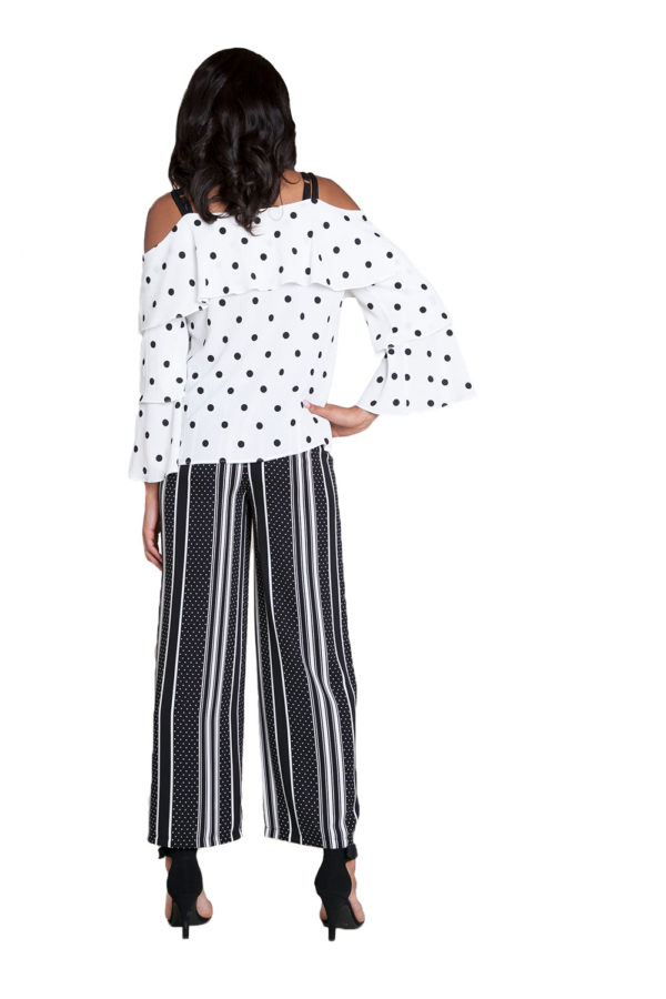 white and black polka dot top- back