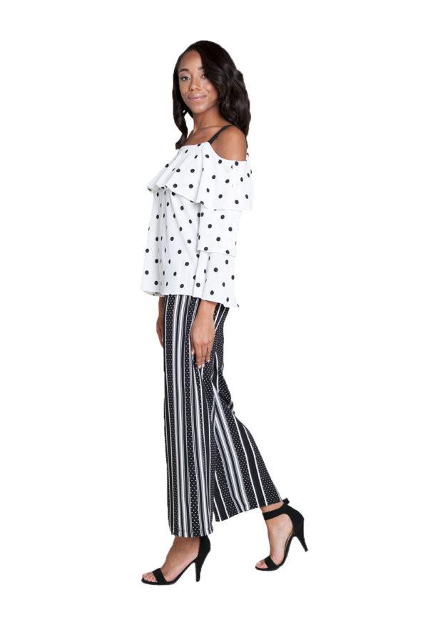 white and black polka dot top- side