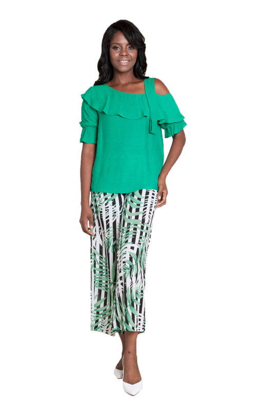 green cold shoulder ruffle top- front