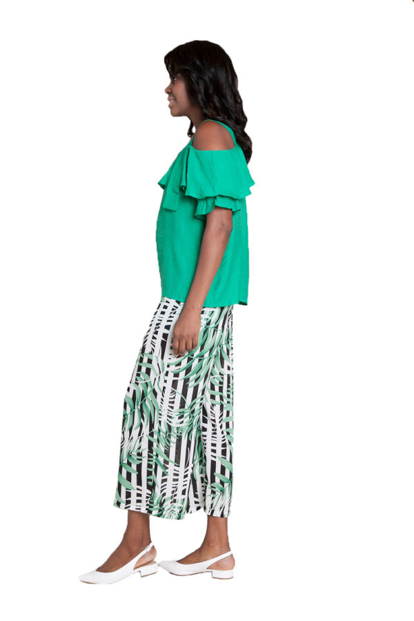 green cold shoulder ruffle top- side