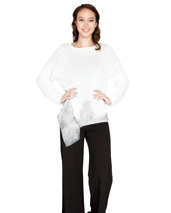 white knit top- front