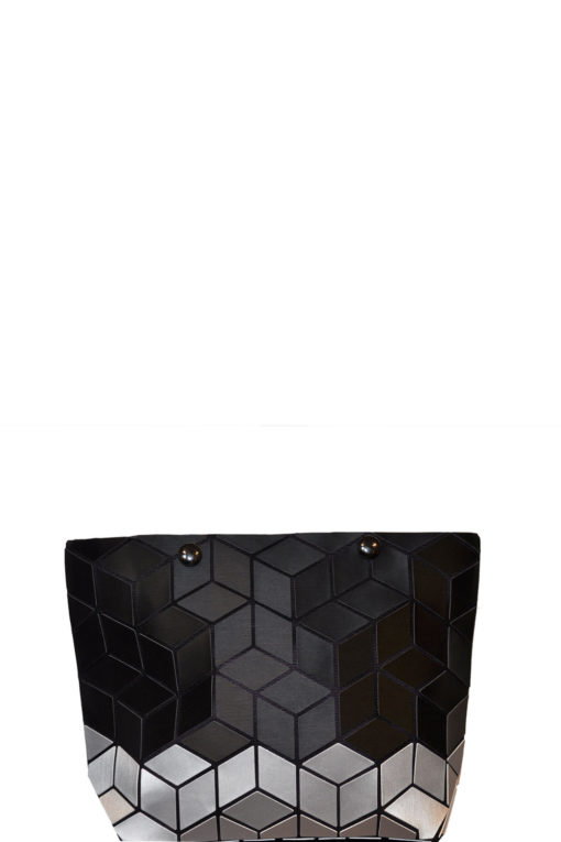 geometric two tone clutch- black silver