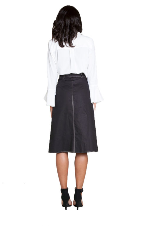 button front black midi skirt- back