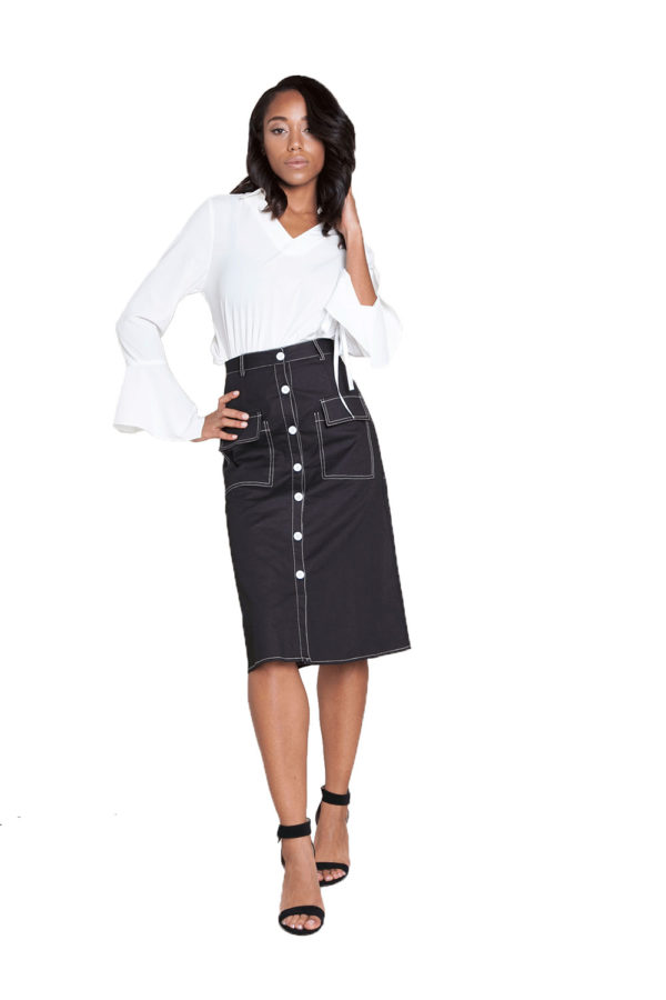 button front black midi skirt- front